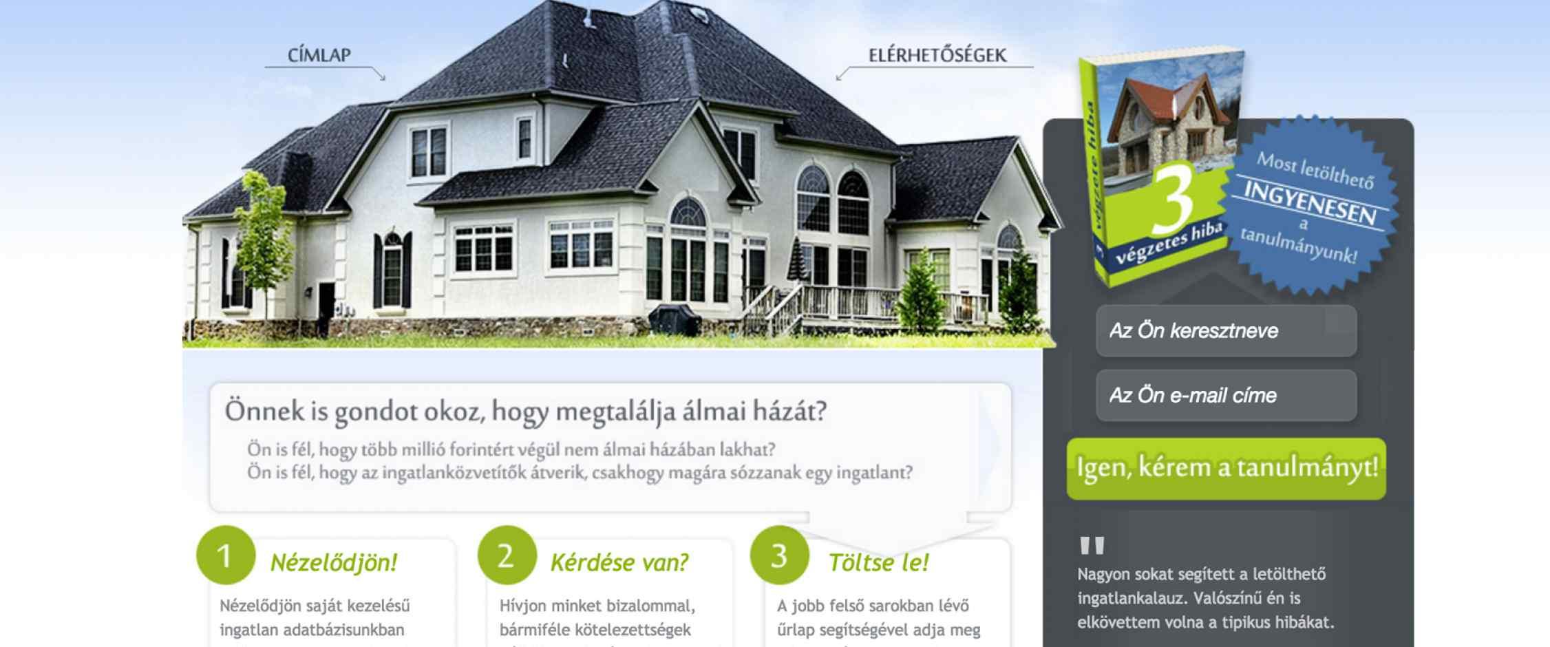 Ingatlan kereső weboldal fejlesztés