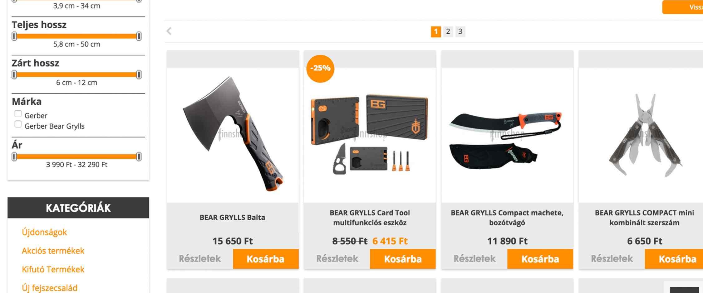 Finnshop webáruház készítés