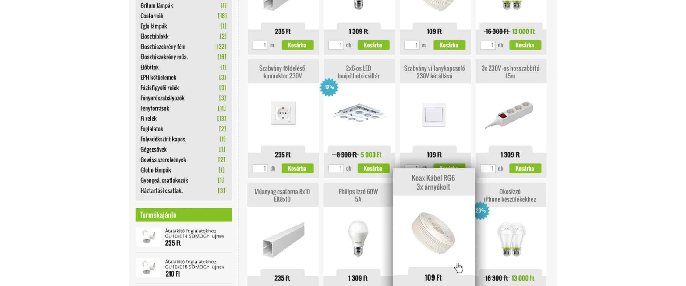 PFB Electric webáruház tervezés