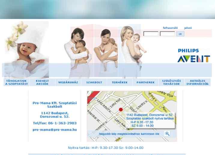 A Philips Avent márka részére weboldalkészítés